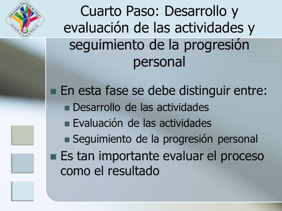 Cuarto Paso: Desarrollo y evaluación de las actividades y seguimiento de la progresión personal