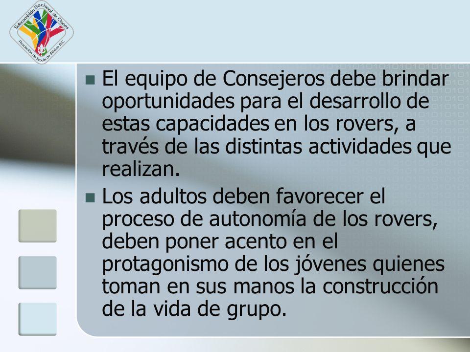 El equipo de Consejeros debe brindar oportunidades para el desarrollo de estas capacidades en los rovers, a través de las distintas actividades que realizan.