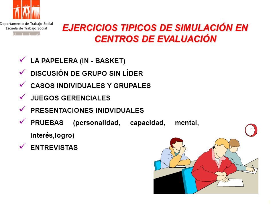 EJERCICIOS TIPICOS DE SIMULACIÓN EN CENTROS DE EVALUACIÓN