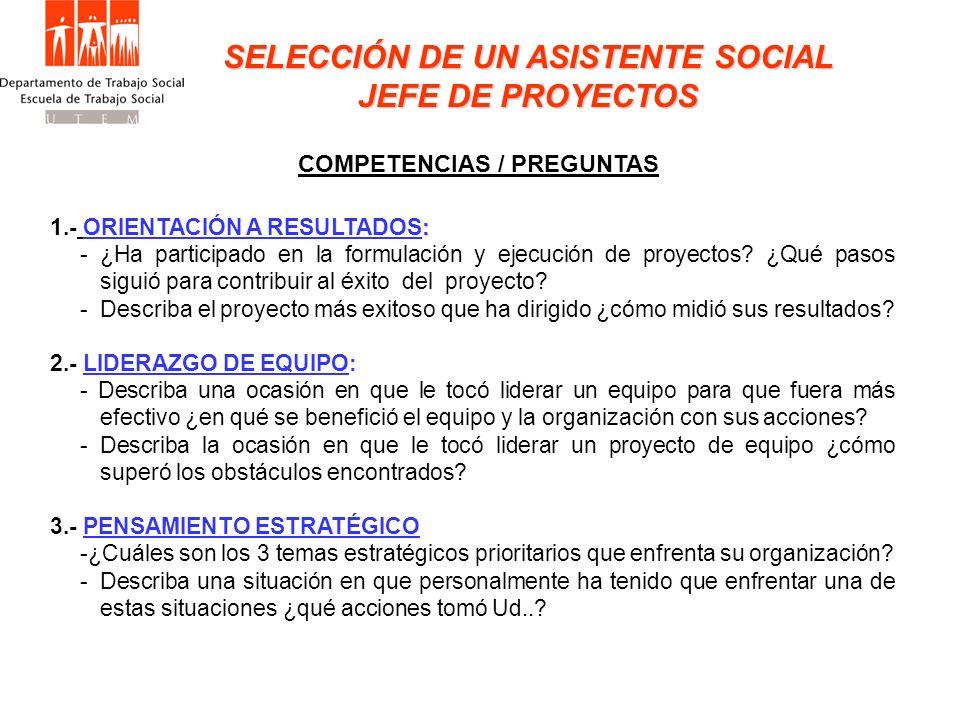 SELECCIÓN DE UN ASISTENTE SOCIAL JEFE DE PROYECTOS