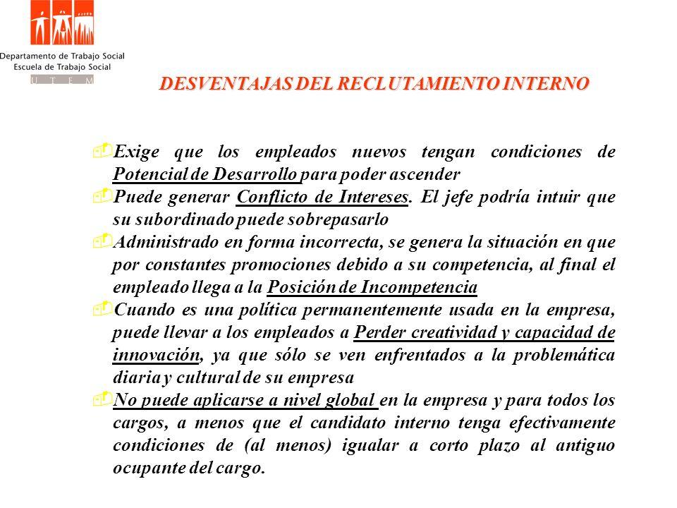 DESVENTAJAS DEL RECLUTAMIENTO INTERNO
