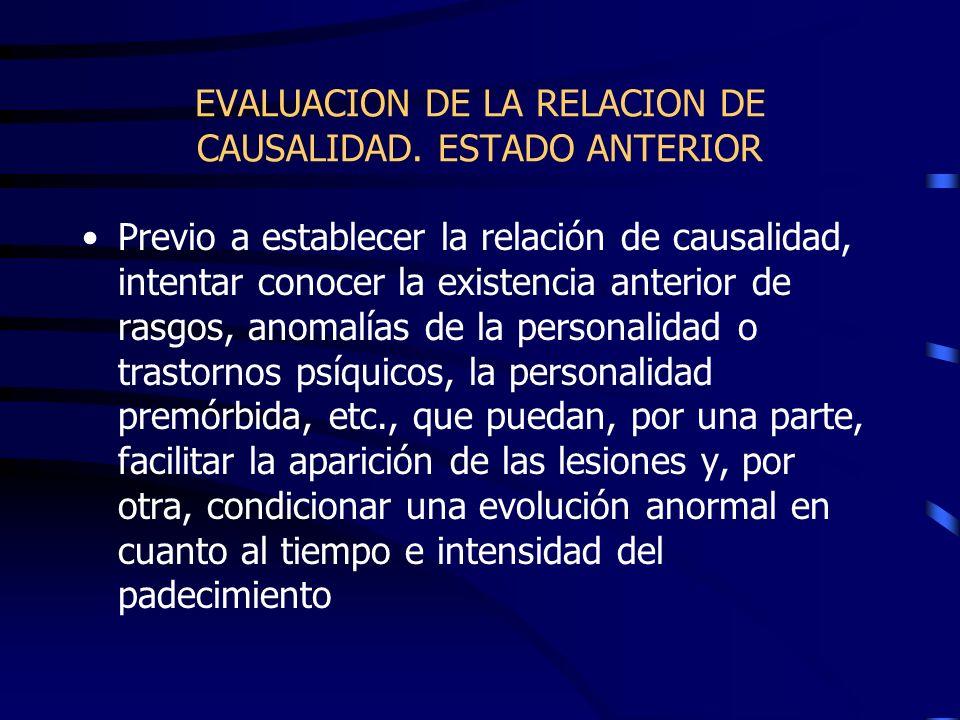 EVALUACION DE LA RELACION DE CAUSALIDAD. ESTADO ANTERIOR