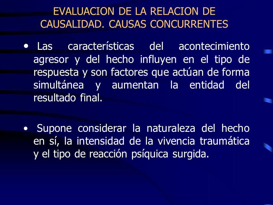 EVALUACION DE LA RELACION DE CAUSALIDAD. CAUSAS CONCURRENTES