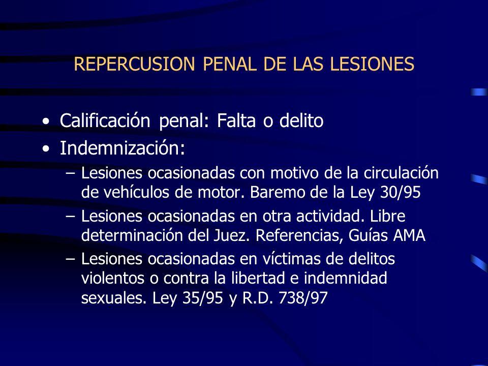 REPERCUSION PENAL DE LAS LESIONES