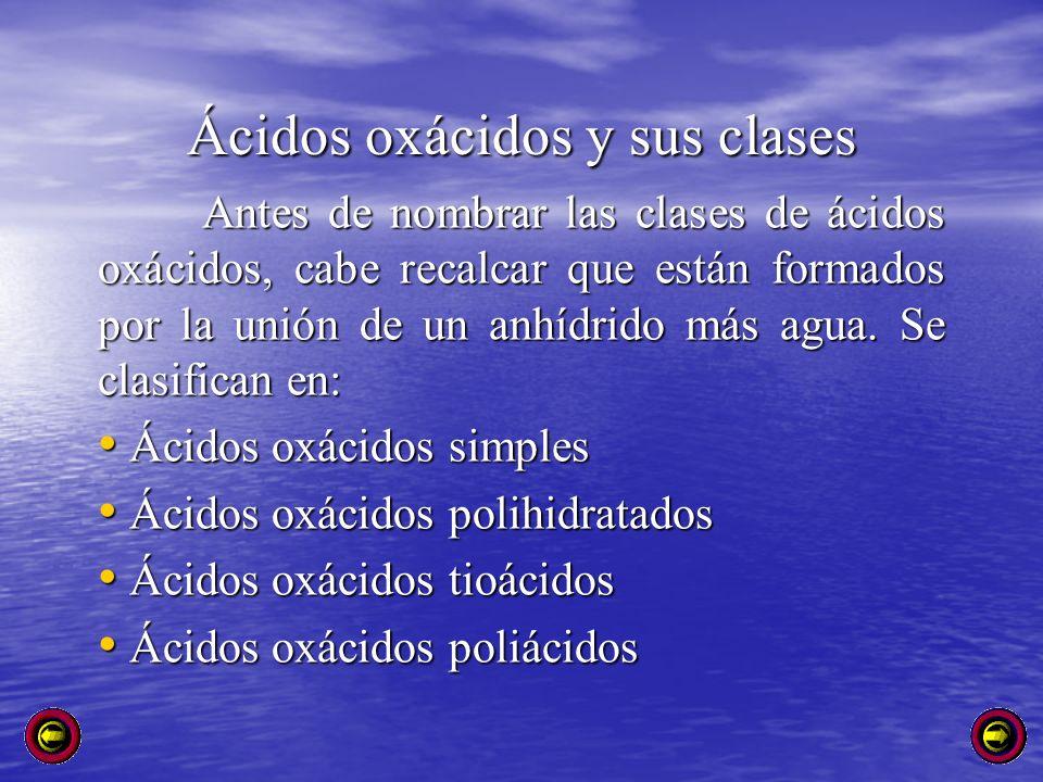 Ácidos oxácidos y sus clases
