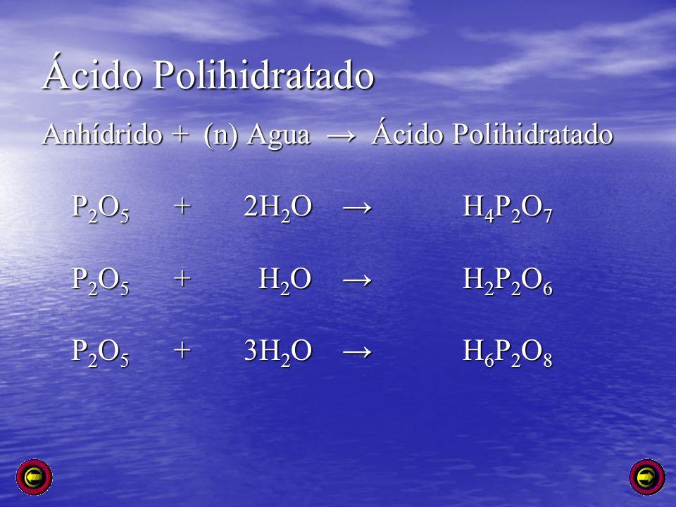 Ácido Polihidratado Anhídrido + (n) Agua → Ácido Polihidratado