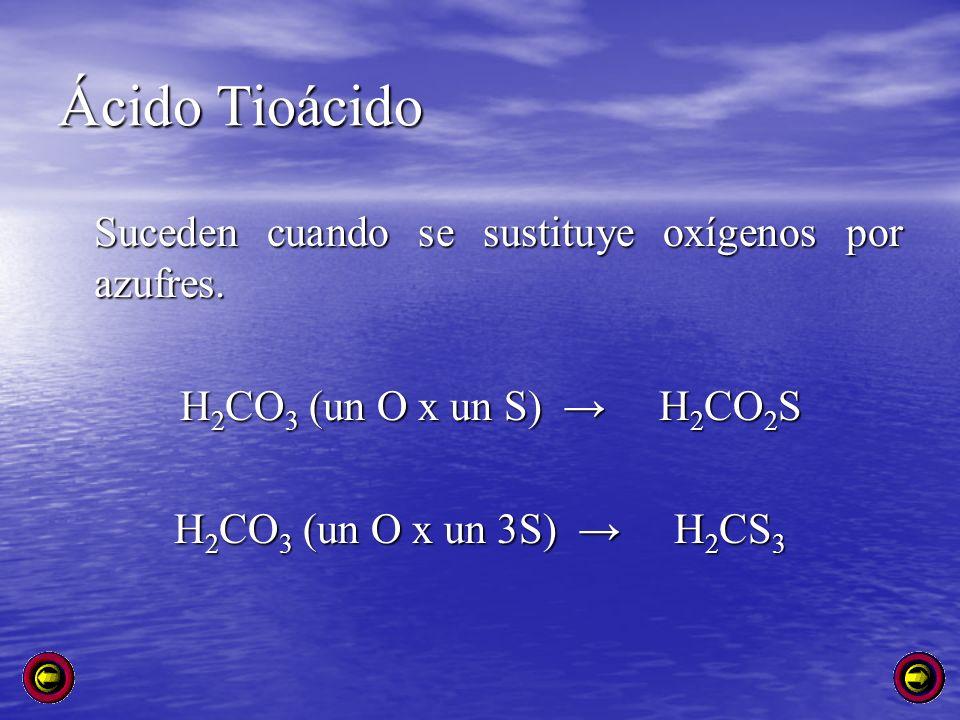 Ácido Tioácido Suceden cuando se sustituye oxígenos por azufres.