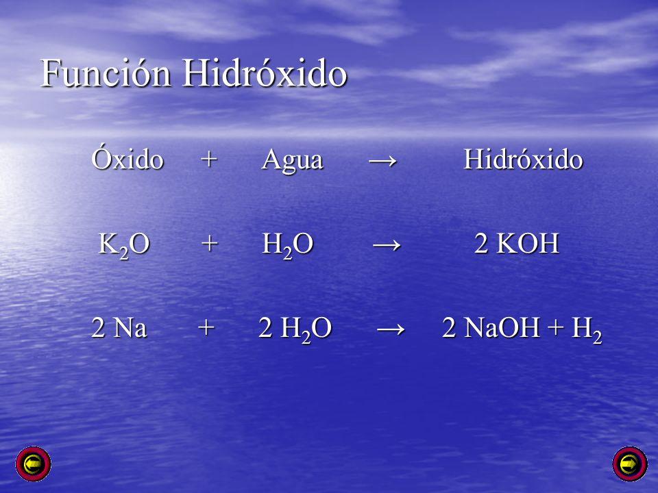 Función Hidróxido Óxido + Agua → Hidróxido K2O + H2O → 2 KOH