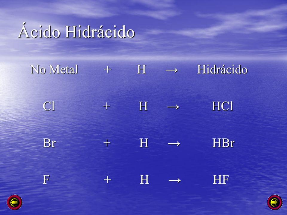 Ácido Hidrácido No Metal + H → Hidrácido Cl + H → HCl Br + H → HBr