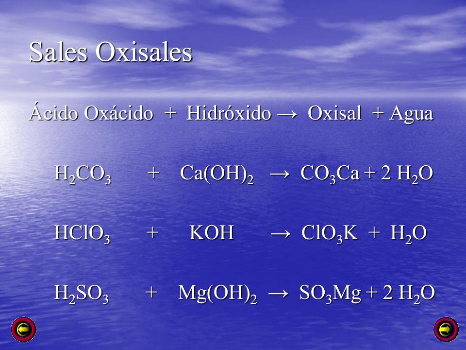 Sales Oxisales Ácido Oxácido + Hidróxido → Oxisal + Agua