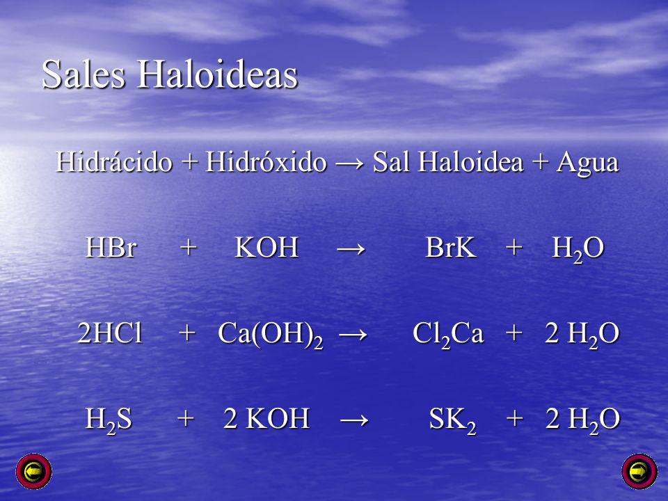 Sales Haloideas Hidrácido + Hidróxido → Sal Haloidea + Agua
