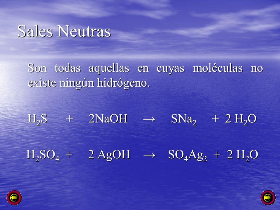 Sales Neutras Son todas aquellas en cuyas moléculas no existe ningún hidrógeno. H2S + 2NaOH → SNa2 + 2 H2O.