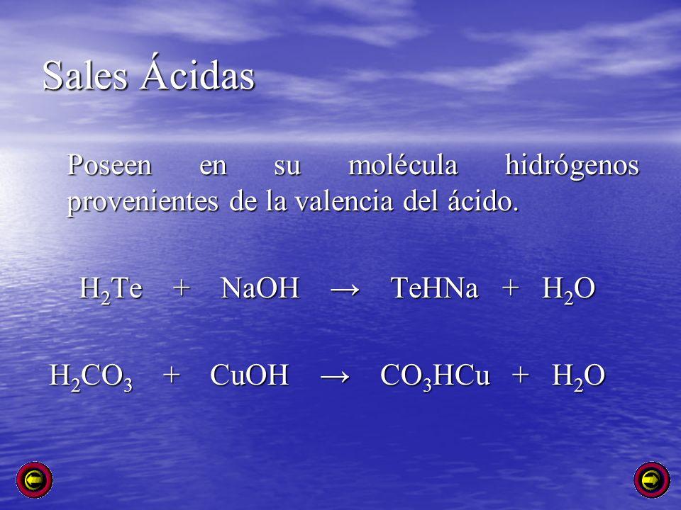 Sales Ácidas Poseen en su molécula hidrógenos provenientes de la valencia del ácido. H2Te + NaOH → TeHNa + H2O.