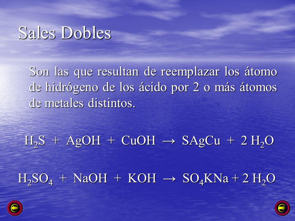 Sales Dobles Son las que resultan de reemplazar los átomo de hidrógeno de los ácido por 2 o más átomos de metales distintos.