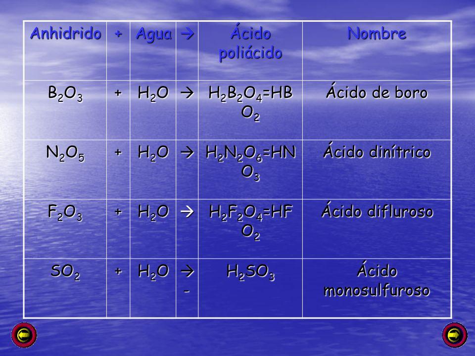 Anhidrido + Agua.  Ácido poliácido. Nombre. B2O3. H2O. H2B2O4=HBO2. Ácido de boro. N2O5. H2N2O6=HNO3.