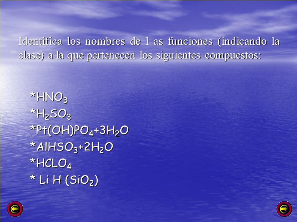 Identifica los nombres de l as funciones (indicando la clase) a la que pertenecen los siguientes compuestos: