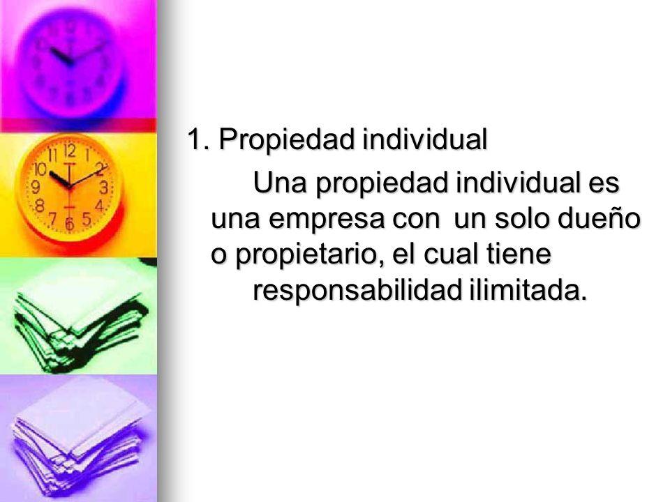 1. Propiedad individual Una propiedad individual es una empresa con un solo dueño o propietario, el cual tiene responsabilidad ilimitada.