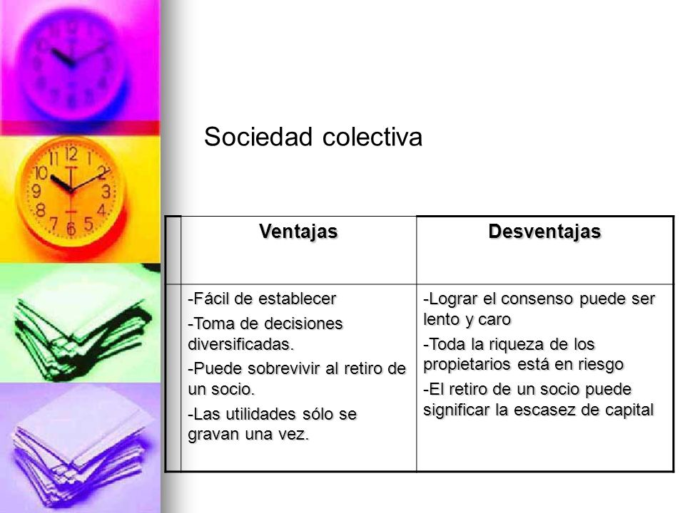 Sociedad colectiva Ventajas Desventajas -Fácil de establecer
