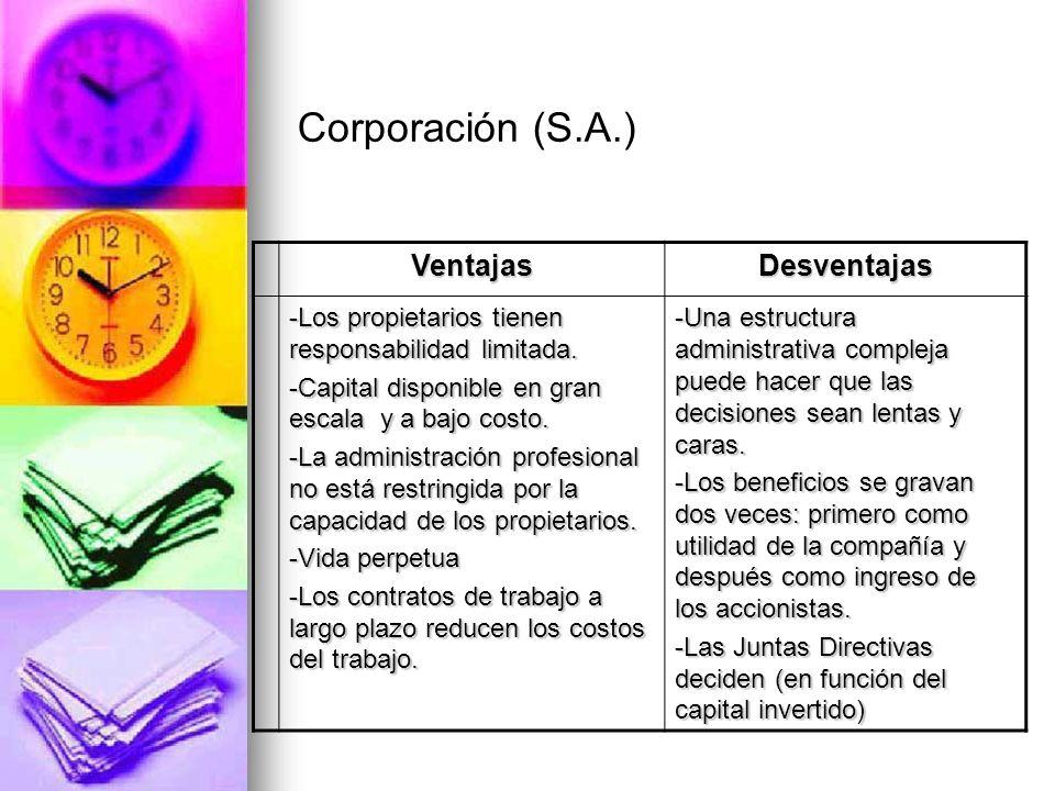 Corporación (S.A.) Ventajas Desventajas