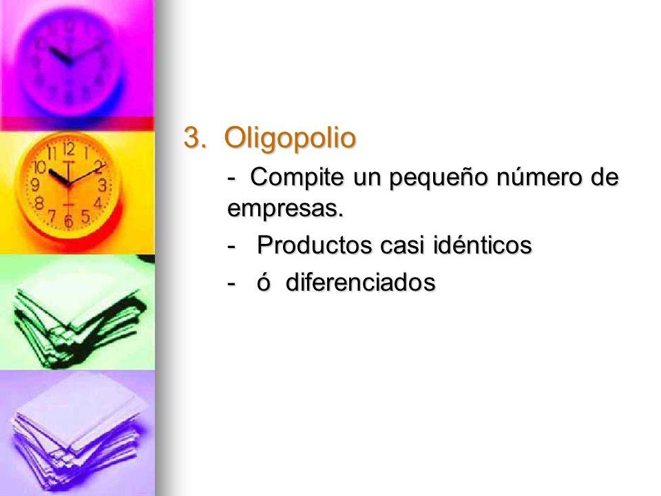 3. Oligopolio - Compite un pequeño número de empresas.