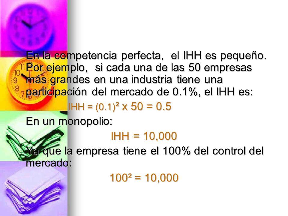 Ya que la empresa tiene el 100% del control del mercado: 100² = 10,000