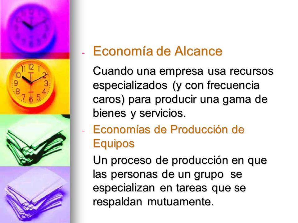 Economía de Alcance Cuando una empresa usa recursos especializados (y con frecuencia caros) para producir una gama de bienes y servicios.