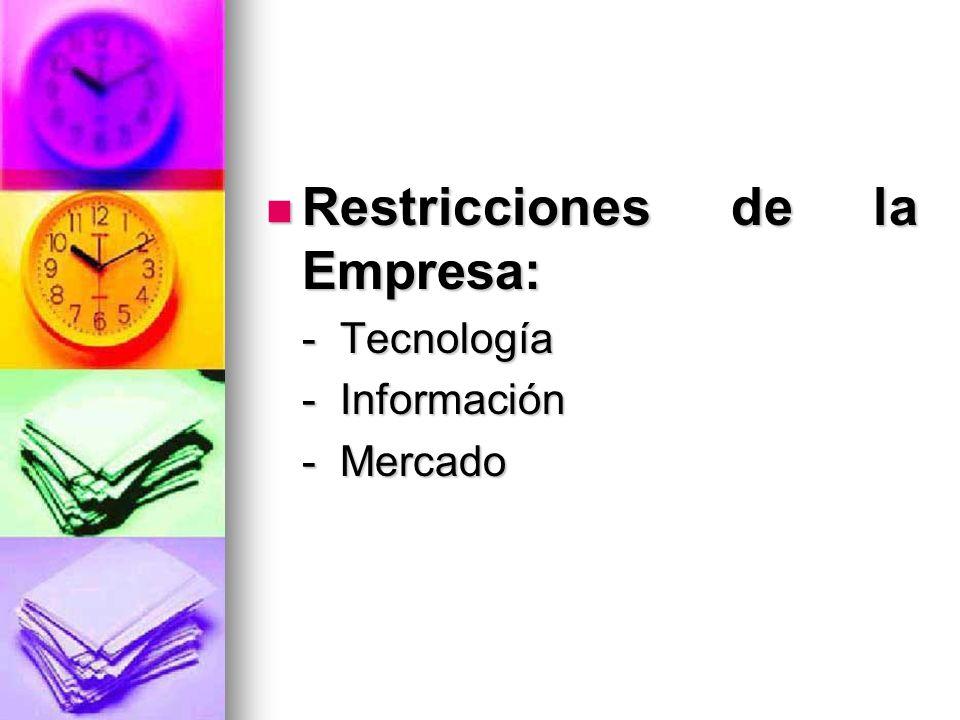 Restricciones de la Empresa: