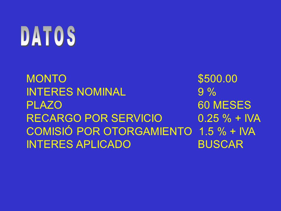 DATOS MONTO $500.00 INTERES NOMINAL 9 % PLAZO 60 MESES