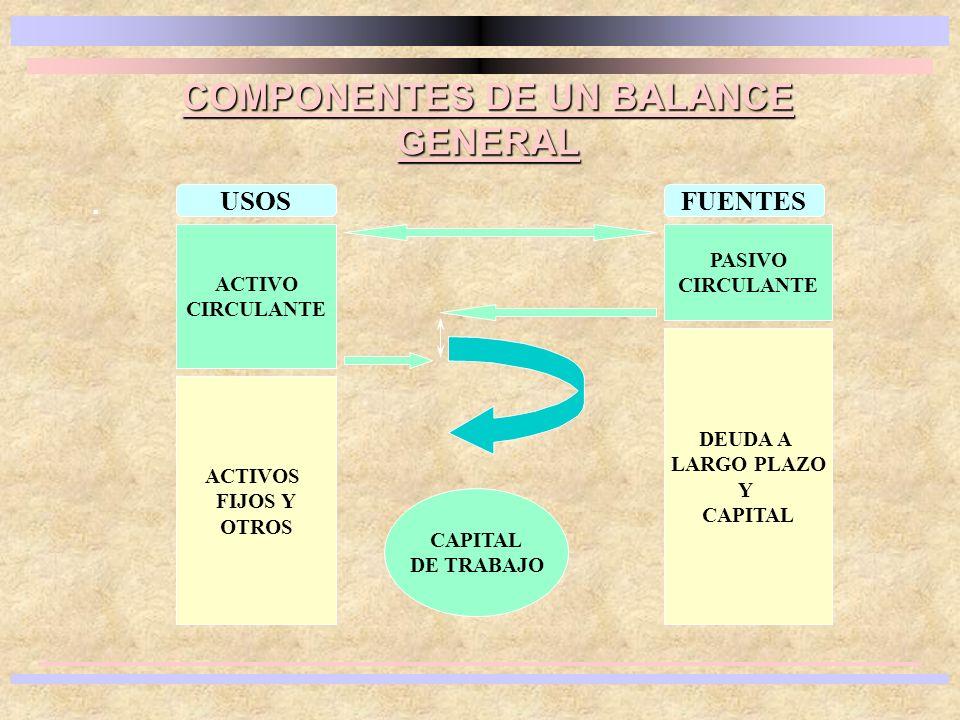 COMPONENTES DE UN BALANCE GENERAL