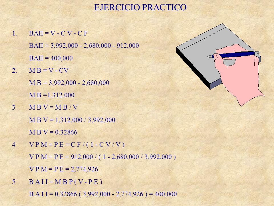 EJERCICIO PRACTICO 1. BAII = V - C V - C F
