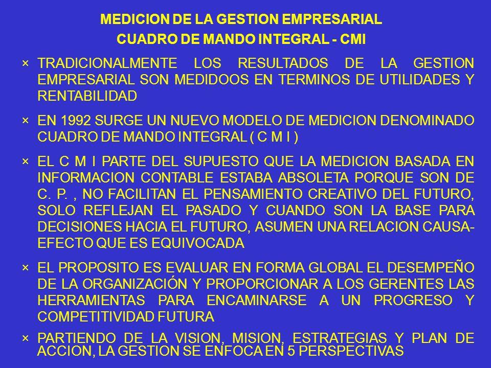 MEDICION DE LA GESTION EMPRESARIAL CUADRO DE MANDO INTEGRAL - CMI