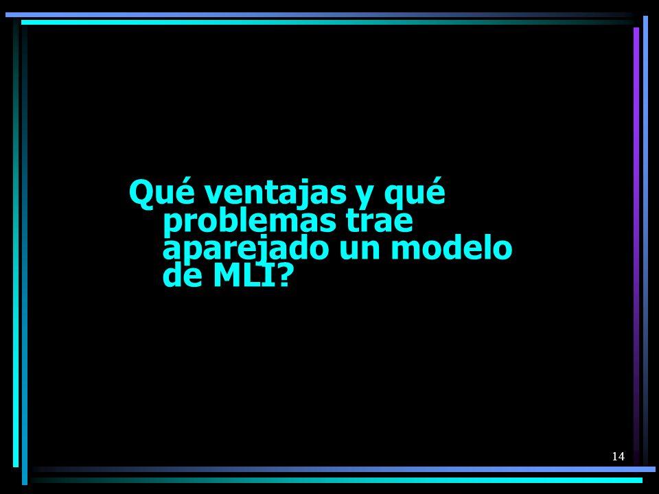 Qué ventajas y qué problemas trae aparejado un modelo de MLI