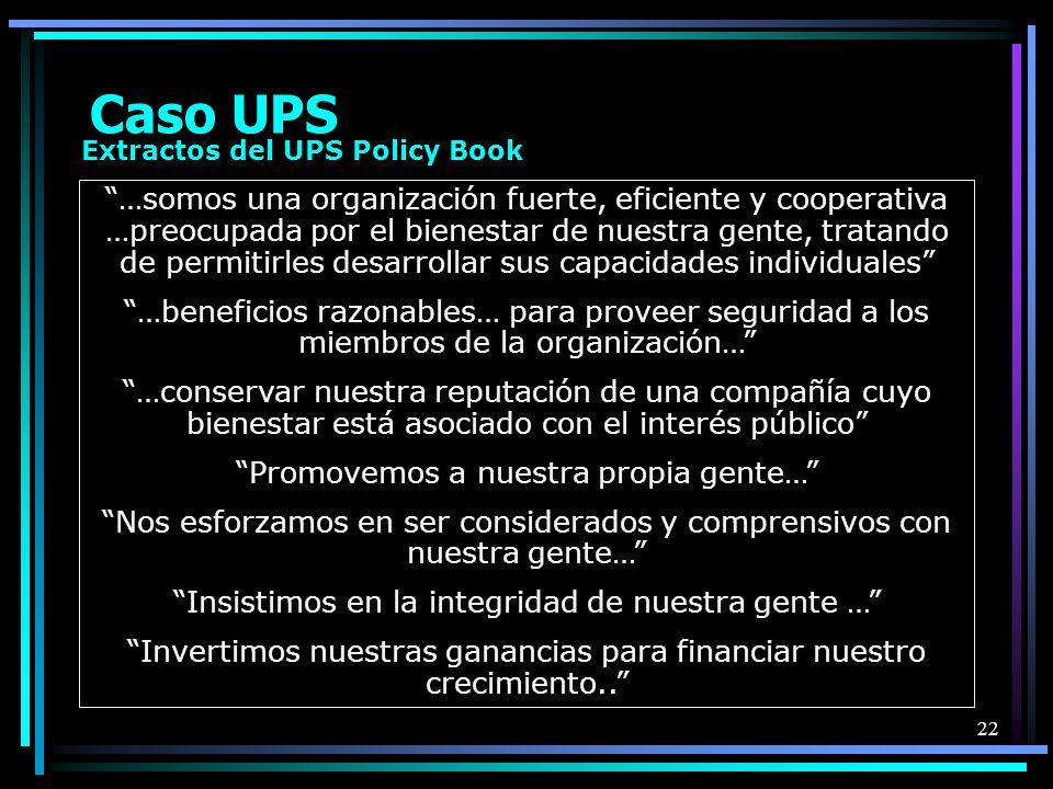 Caso UPSExtractos del UPS Policy Book.