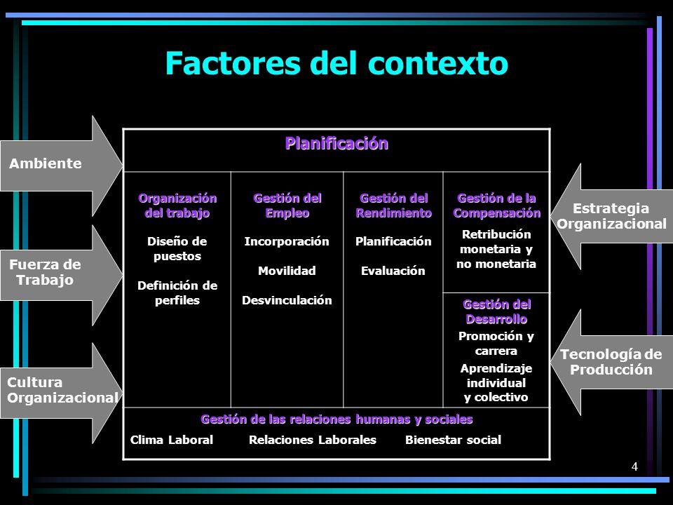 Factores del contexto Planificación Ambiente Estrategia Organizacional