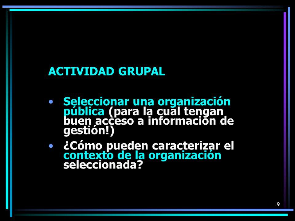 ACTIVIDAD GRUPAL Seleccionar una organización pública (para la cual tengan buen acceso a información de gestión!)