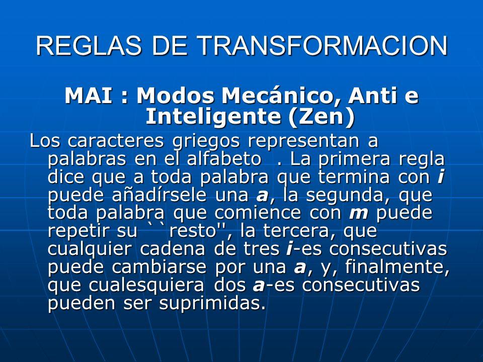 REGLAS DE TRANSFORMACION