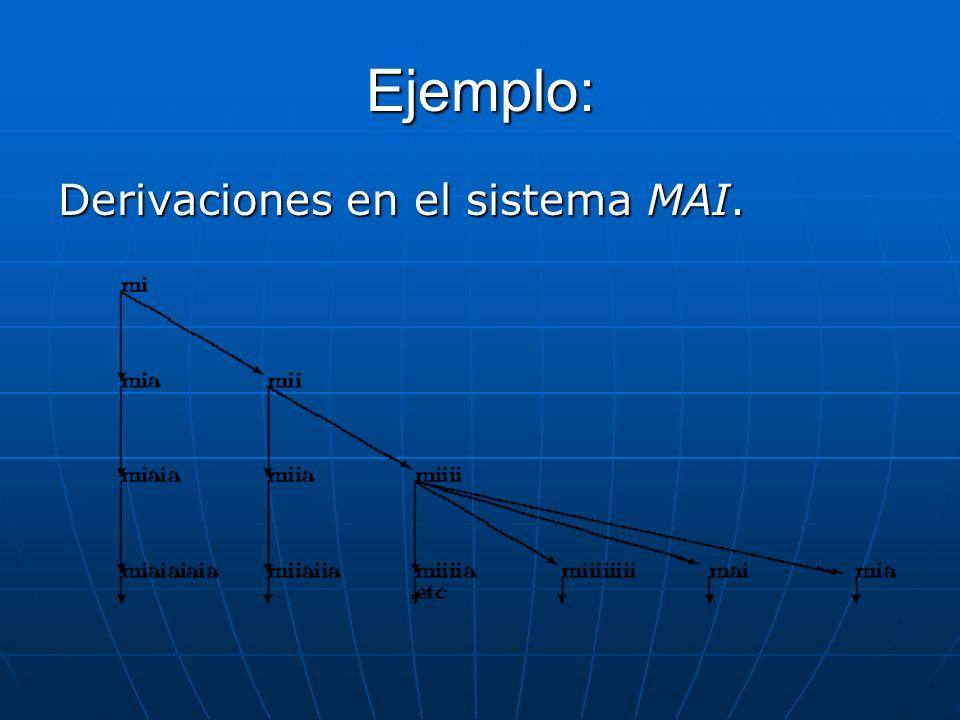Ejemplo: Derivaciones en el sistema MAI.