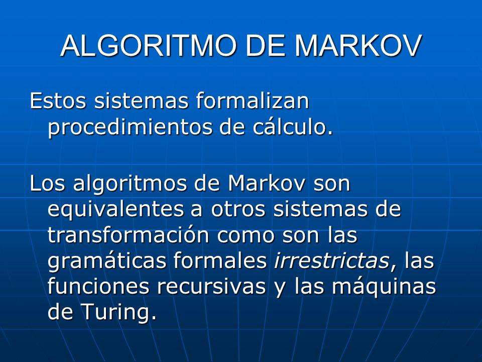 ALGORITMO DE MARKOV Estos sistemas formalizan procedimientos de cálculo.