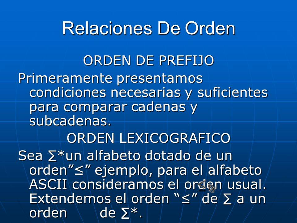 Relaciones De Orden ORDEN DE PREFIJO