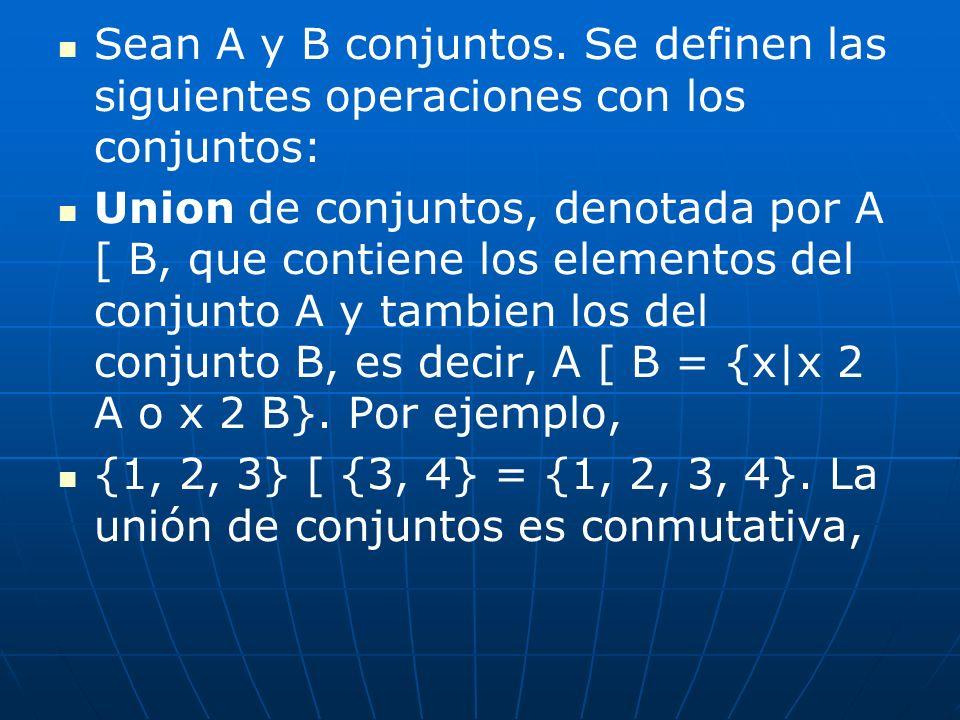 Sean A y B conjuntos. Se definen las siguientes operaciones con los conjuntos: