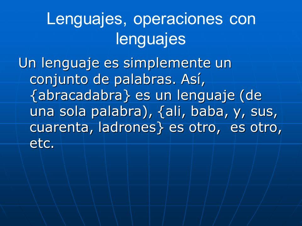 Lenguajes, operaciones con lenguajes