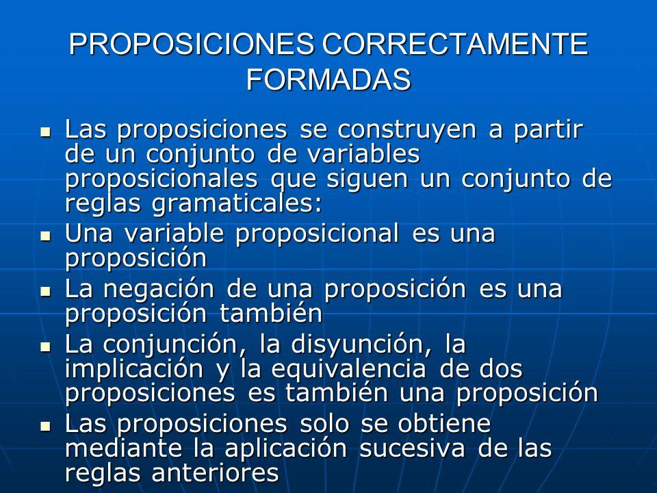 PROPOSICIONES CORRECTAMENTE FORMADAS