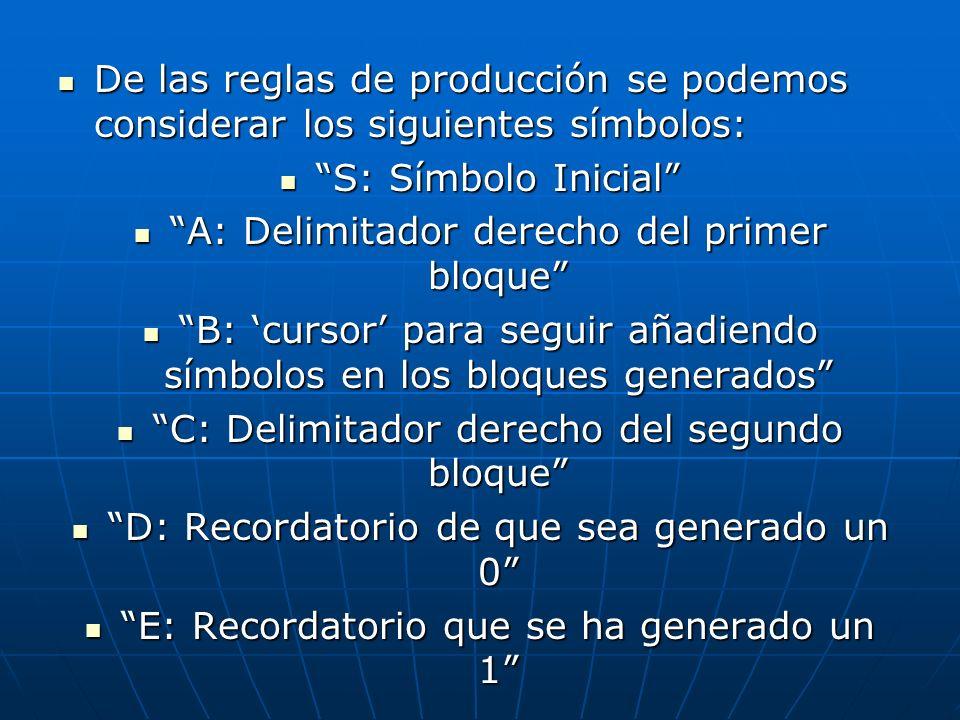 A: Delimitador derecho del primer bloque