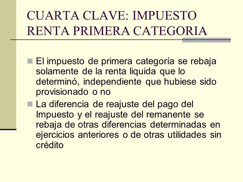 CUARTA CLAVE: IMPUESTO RENTA PRIMERA CATEGORIA