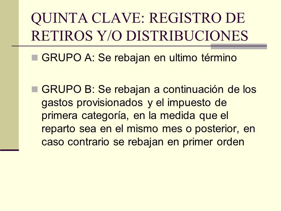 QUINTA CLAVE: REGISTRO DE RETIROS Y/O DISTRIBUCIONES