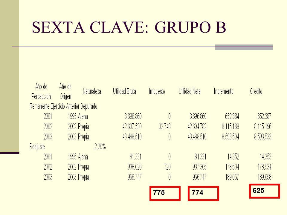 SEXTA CLAVE: GRUPO B 625 775 774