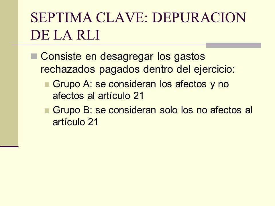 SEPTIMA CLAVE: DEPURACION DE LA RLI