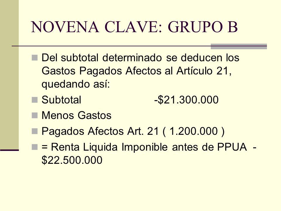 NOVENA CLAVE: GRUPO B Del subtotal determinado se deducen los Gastos Pagados Afectos al Artículo 21, quedando así: