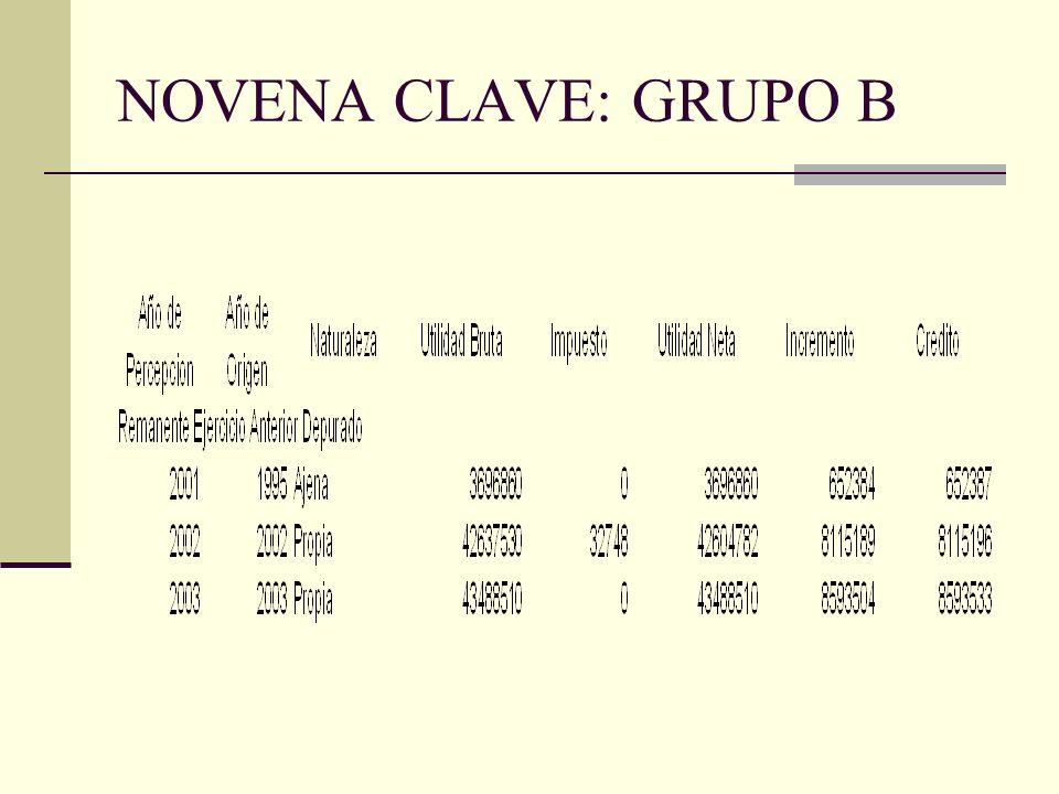 NOVENA CLAVE: GRUPO B