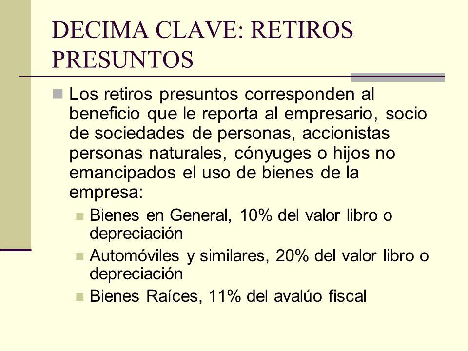DECIMA CLAVE: RETIROS PRESUNTOS